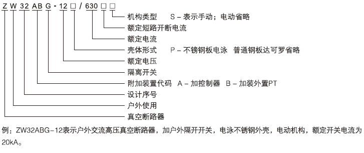 ZW32ABG-12系列户外高压带看门狗智能分界真空断路器型号含义